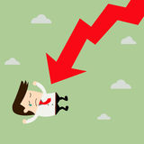 Businessman On Falling Down Chart. Vector Stock Image