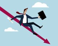 Businessman On Falling Down Chart. Vector illustration Stock Photo