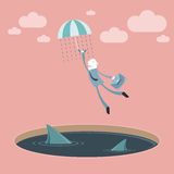 Businessman falling down vector illustration