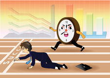 Businessman falling down while racing against time Royalty Free Stock Images