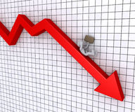 Businessman falling from graph. Businessman is falling from a graphic chart going downwards Stock Image