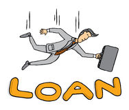 Businessman falling on loan Stock Photography