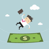 Businessman falling into a money banknote. Business concept. Vector illustration Royalty Free Stock Images
