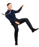 Businessman in a falling position, on white Royalty Free Stock Images