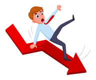 Businessman falling from the red chart arrow Stock Photos