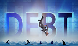 The businessman falling into sea with sharks Royalty Free Stock Photography