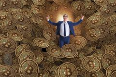 The businessman falling into sinkhole of cryptocurrency bitcoin Stock Image