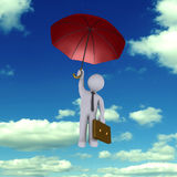 Businessman falling from the sky. Businessman holding an umbrella is falling from the sky Royalty Free Stock Image