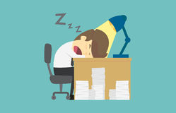Businessman falls asleep at his desk.Cartoon of business fail is. The concept of the man characters business, the mood of people, can be used as a background Stock Image