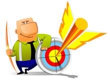 Businessman falls into the goal stock illustration