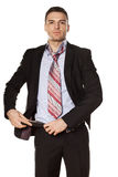 Businessman fastened the belt Royalty Free Stock Photos