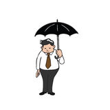 Businessman fat holding umbrella Stock Photography