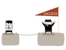Businessman fear to climb. To the success cliff royalty free illustration