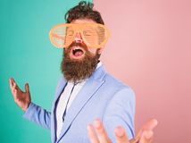 Businessman fed up being serious. Enjoy being yourself. Sincere and natural. Hipster formal clothes having fun. Just. Want to have fun. Man with beard and stock photo
