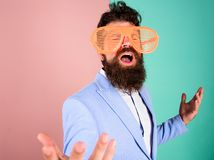 Businessman fed up being serious. Enjoy being yourself. Sincere and natural. Hipster formal clothes having fun. Just. Want to have fun. Man with beard and stock image