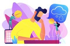 Seasonal affective disorder concept vector illustration. Businessman feeling bad with depressive symptoms, tiny people. Seasonal affective disorder, mood vector illustration