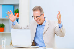 Businessman feeling glad about successful deal Royalty Free Stock Photography