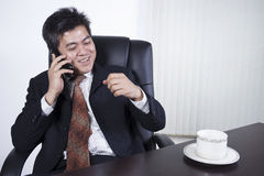 Businessman feeling happy at work Royalty Free Stock Images