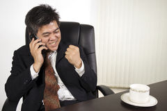 Businessman feeling happy at work Royalty Free Stock Photography