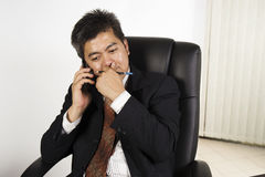 Businessman feeling stressed at work Stock Images