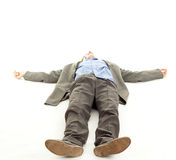 Businessman feet of a dead body Stock Photo