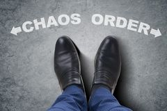 The businessman feet facing difficult choice dilemma Royalty Free Stock Images