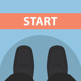 Businessman feet in front of start line Stock Photography