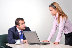 Businessman and female assistant Stock Photo