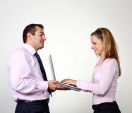 Businessman and female assistant Royalty Free Stock Image