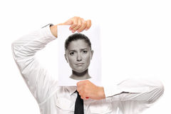 Businessman with female head Royalty Free Stock Photos