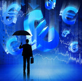 Businessman on Fianacial Crisis Euro Signs Concept Royalty Free Stock Image