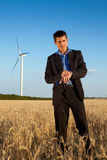 Businessman in a field Stock Photos