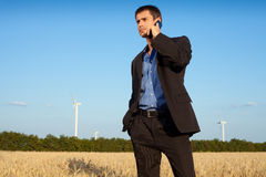 Businessman in a field Stock Images