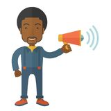 Businessman in the field holding a megaphone. A businessman in the field holding a megaphone use to communicate with his employee. A Contemporary style. Vector Stock Images