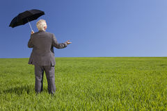 Businessman In A Field With An Umbrella Royalty Free Stock Images