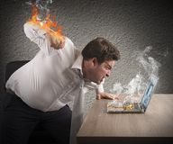 Businessman fiery rage Royalty Free Stock Images