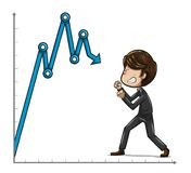 Businessman fighting with angry face against a blue graph stock illustration