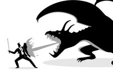 Businessman fighting a dragon. Business concept vector illustration of a businessman fighting a dragon. Risk, courage, leadership in business concept Royalty Free Stock Photos