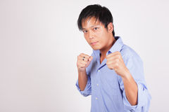 Businessman in a fighting pose Stock Photography