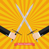 Businessman fighting with swords. Business competition concept Royalty Free Stock Image