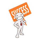 Businessman Figure Carrying Success Sign Board Stock Image