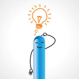 Businessman figurine with bulb idea Royalty Free Stock Images