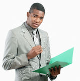 Businessman with file Stock Image