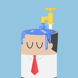 Businessman fill water into his head untill overfull Stock Image
