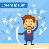 Businessman Financial Bill Fly Concept Worried. Payment Problem Flat Vector Illustration Stock Photos