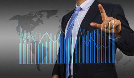 Businessman with financial chart Royalty Free Stock Photo
