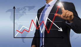 Businessman with financial chart Stock Photos
