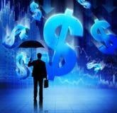 Businessman on Financial Crisis Background Stock Photos