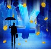 Businessman on Financial Crisis Yen Royalty Free Stock Image