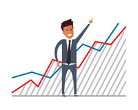 Businessman with financial growth. Flat vector illustration. Businessman with financial growth. Flat vector illustration Royalty Free Stock Image